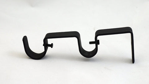 "Double Curtain Rod Bracket for 1"" and 3/4"" Rod, Black, 1 pcs."