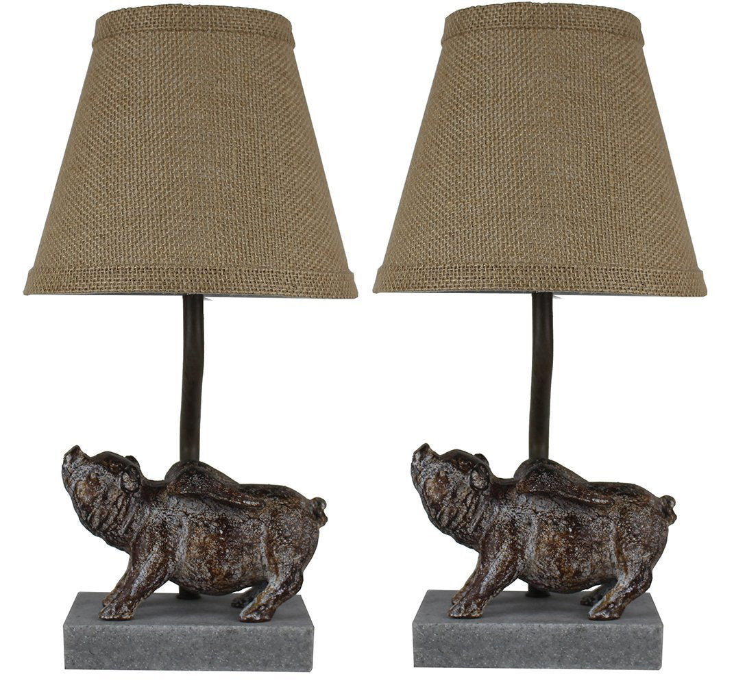 Set Of 2 Flying Pig Mini Accent Lamps With Shades