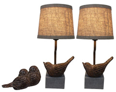 Set of 2 Bird Mini Accent Lamps with Shades