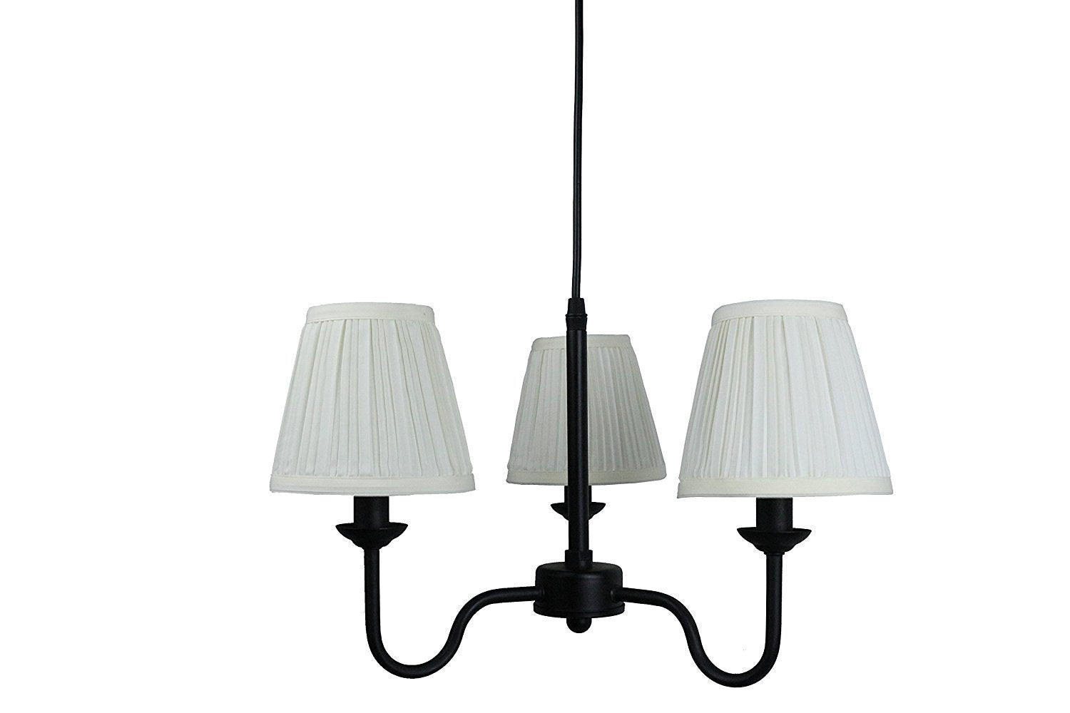 Portable Shire 3-Light Chandelier with Eggshell Mushroom Pleated Shades