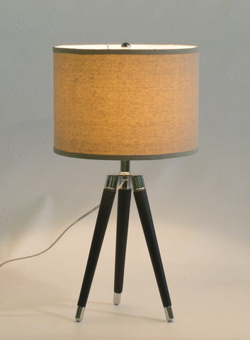 Black Mid Century Modern Tripod Leather & Chrome Table Lamp with 14-inch Natural Linen Drum Shade