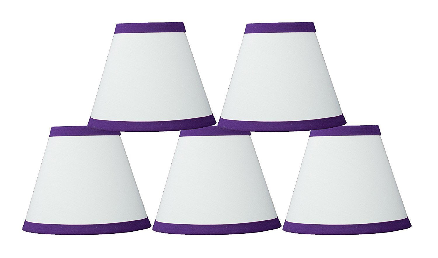 White Cotton 6-inch Chandelier Lamp Shade with Colored Trim - 6 Colors