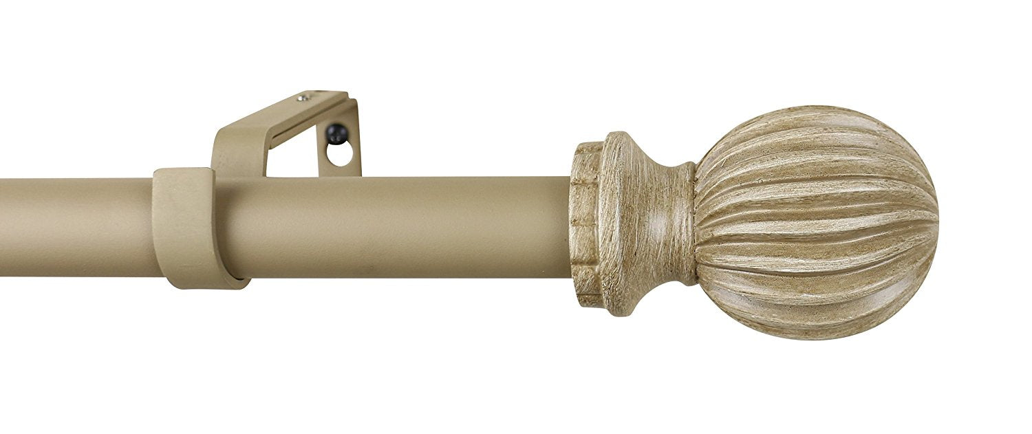 1-inch Diameter Lecca Adjustable Single Drapery Curtain Rod - 7 Finishes