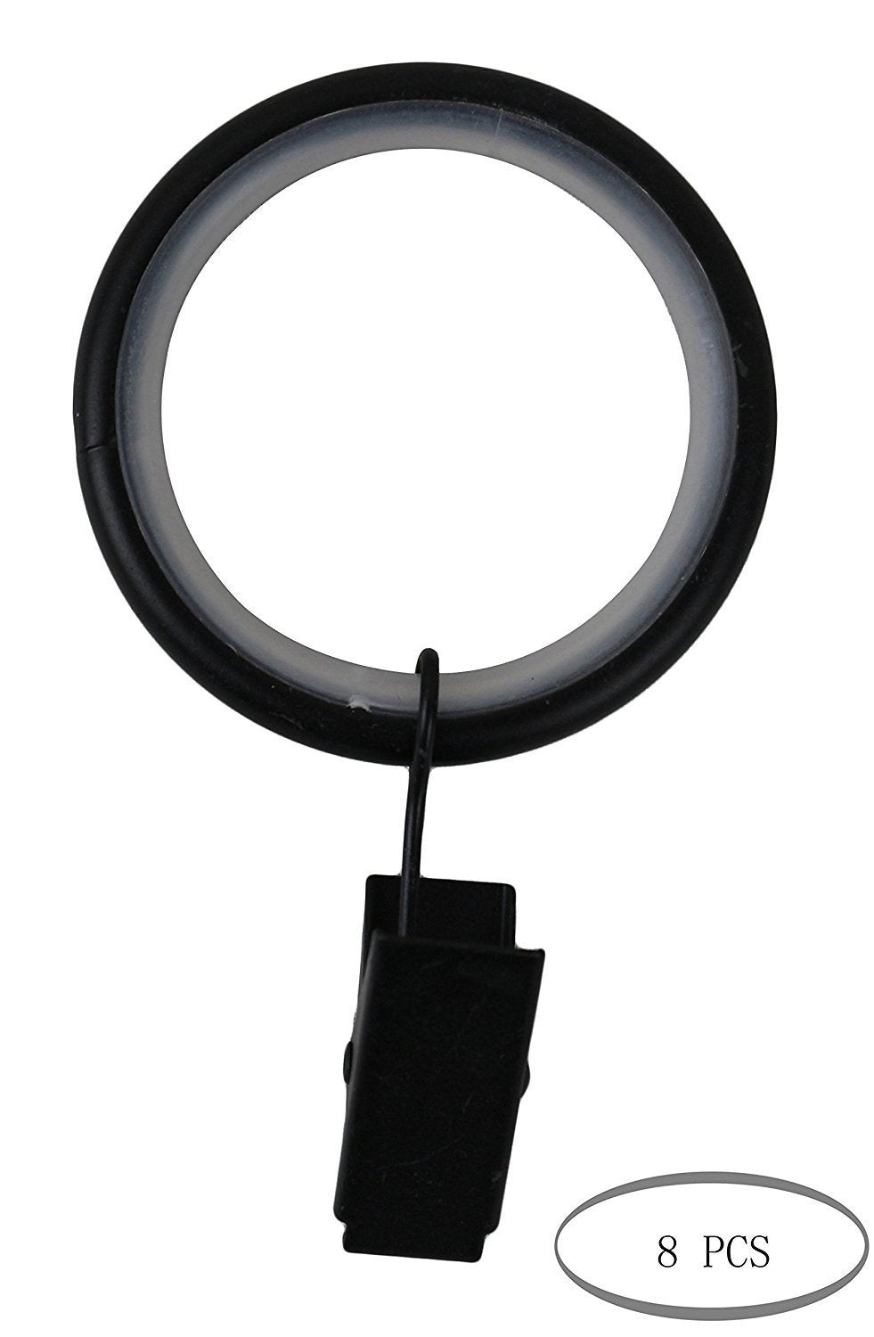 Curtain Drapery Rings with Clips, 1.5-inch Inner Diameter, Nylon Insert Quiet Smooth