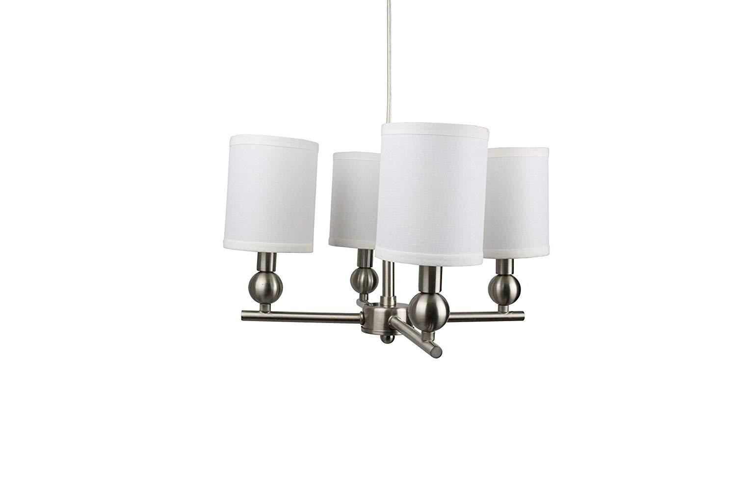 Portable Zio 4-Light Chandelier with Off White Linen Shades