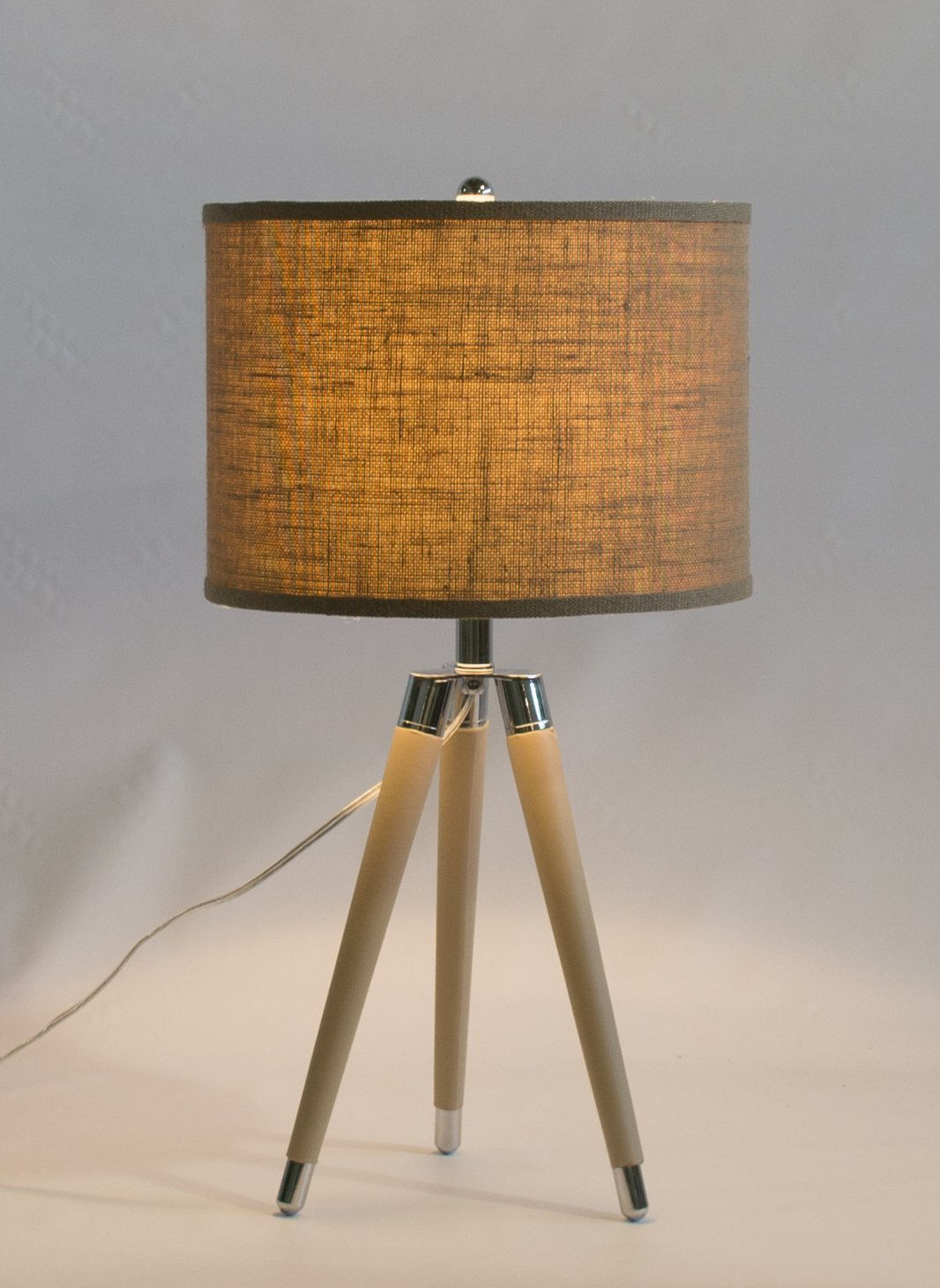 Tan Mid Century Modern Tripod Leather Amp Chrome Table Lamp