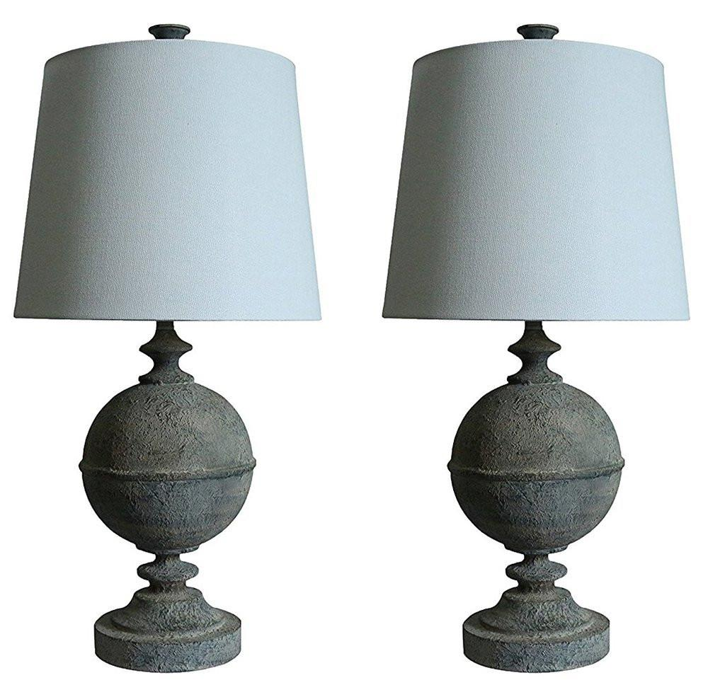 Set of 2 Rochelle Table Lamps in French Zinc with Off White Shades