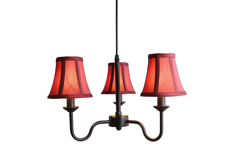 Portable Shire 3-Light Chandelier with Burgundy Silk Bell Shades