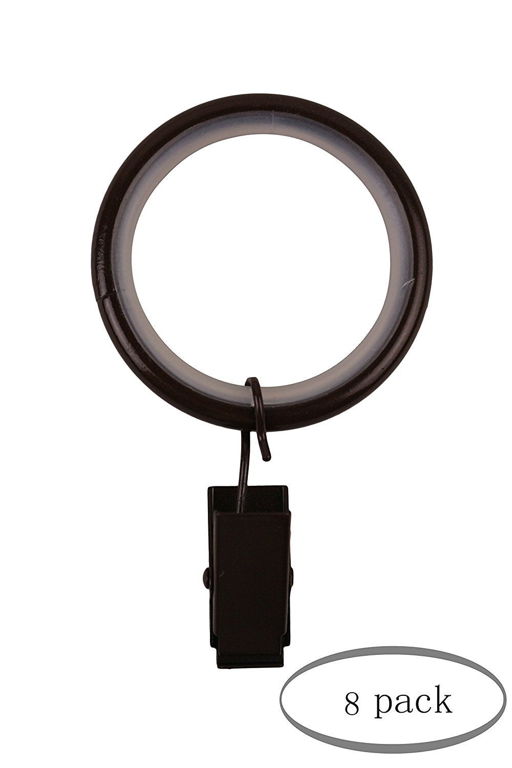 "1 1/2"" Curtain Drapery Rings with Clips, Nylon Inserts Quiet & Smooth - 7 Finishes"