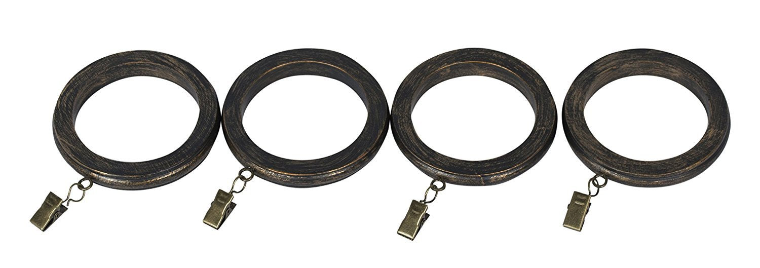 Set of 4 Large Banded Designer Curtain Rings