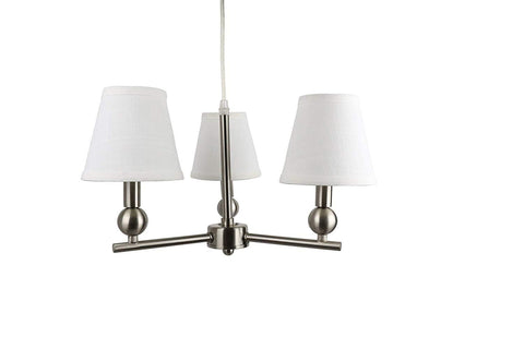 Urbanest Portable Zio 3-Light Chandelier with Off White Linen Hardback Shades