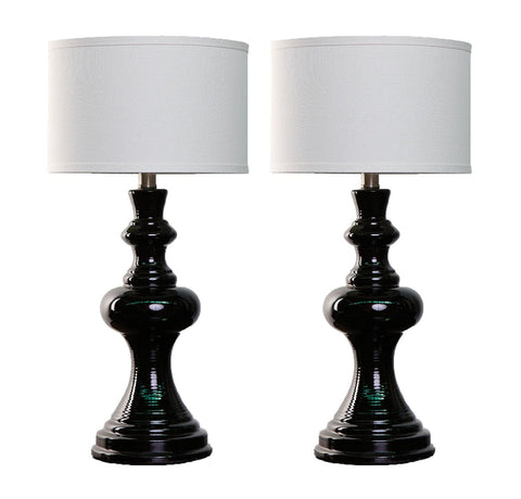 Set of 2 Dexter Black Ceramic Table Lamp with Linen Drum Hardback Shade