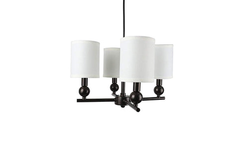 Urbanest Portable Zio 4-Light Chandelier with Off White Linen Shades