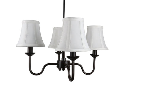 Portable Shire 4-Light Chandelier with Off White Silk Bell Shades