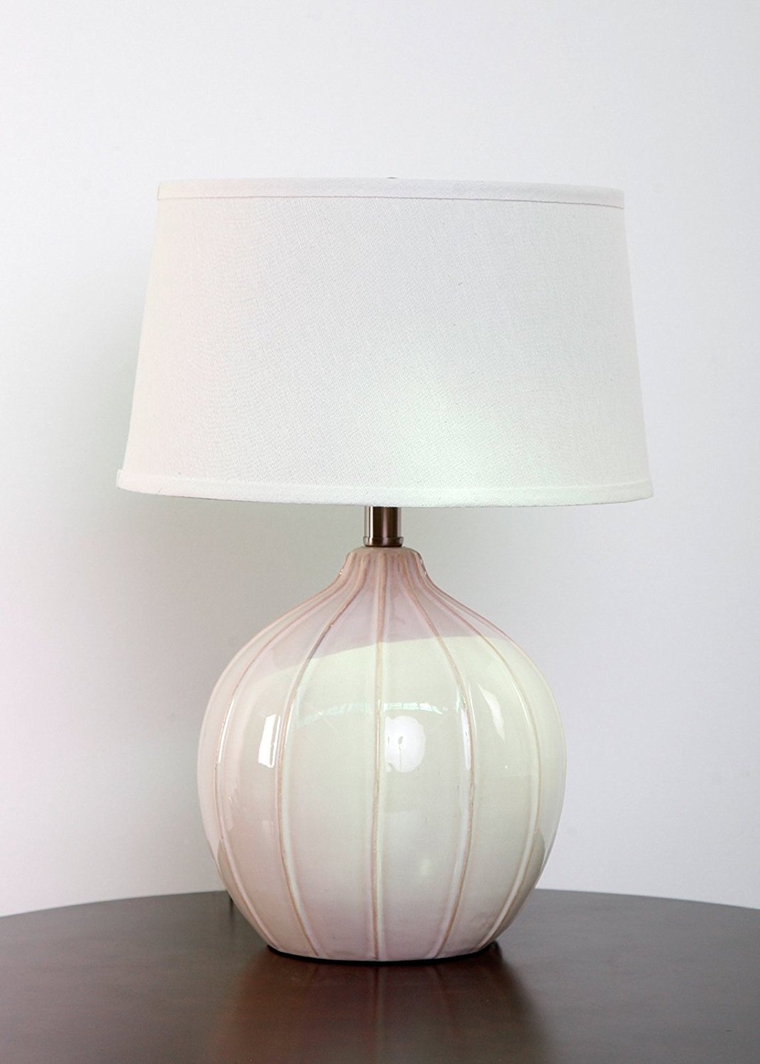 Highlands Antique White Ceramic Table Lamp with Natural Drum Hardback Shade