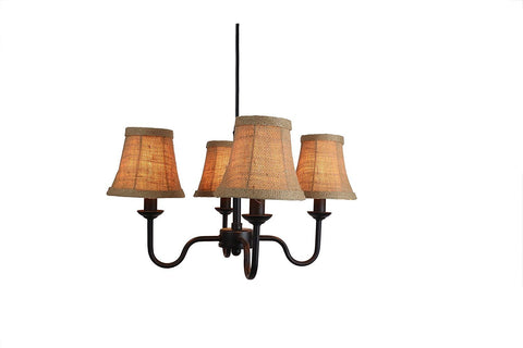 Portable Shire 4-Light Chandelier with Burlap Bell Shades