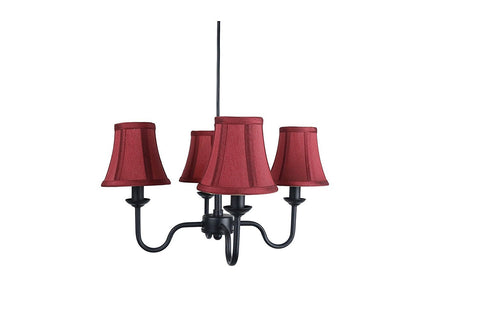 Portable Shire 4-Light Chandelier with Burgundy Silk Bell Shades
