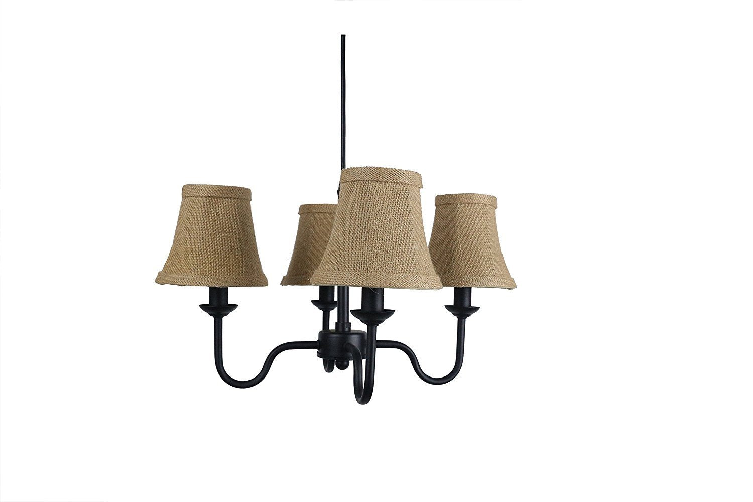 Portable Shire 4 Light Chandelier With Burlap Bell Shades