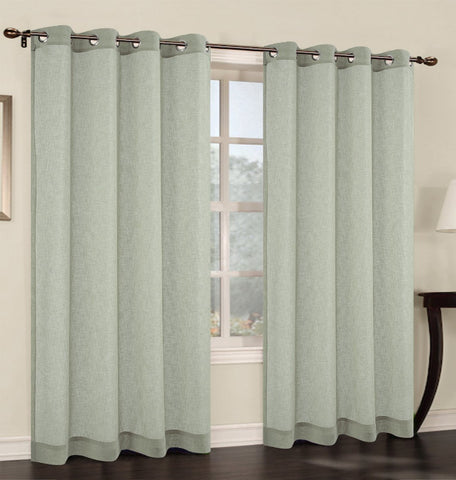 Set of 2 Faux Linen Sheer Curtain Panel with Grommets - 6 Colors