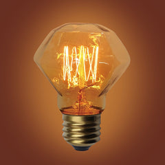 E26 Base Diamond Squirrel Cage Filament Vintage Edison Bulbs, 60 Watt, 3 5/8-inch Long