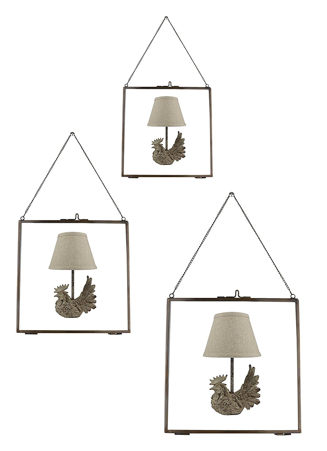 Set of 3 Brixton Brass and Glass Hanging Picture Frames - 4 Finishes