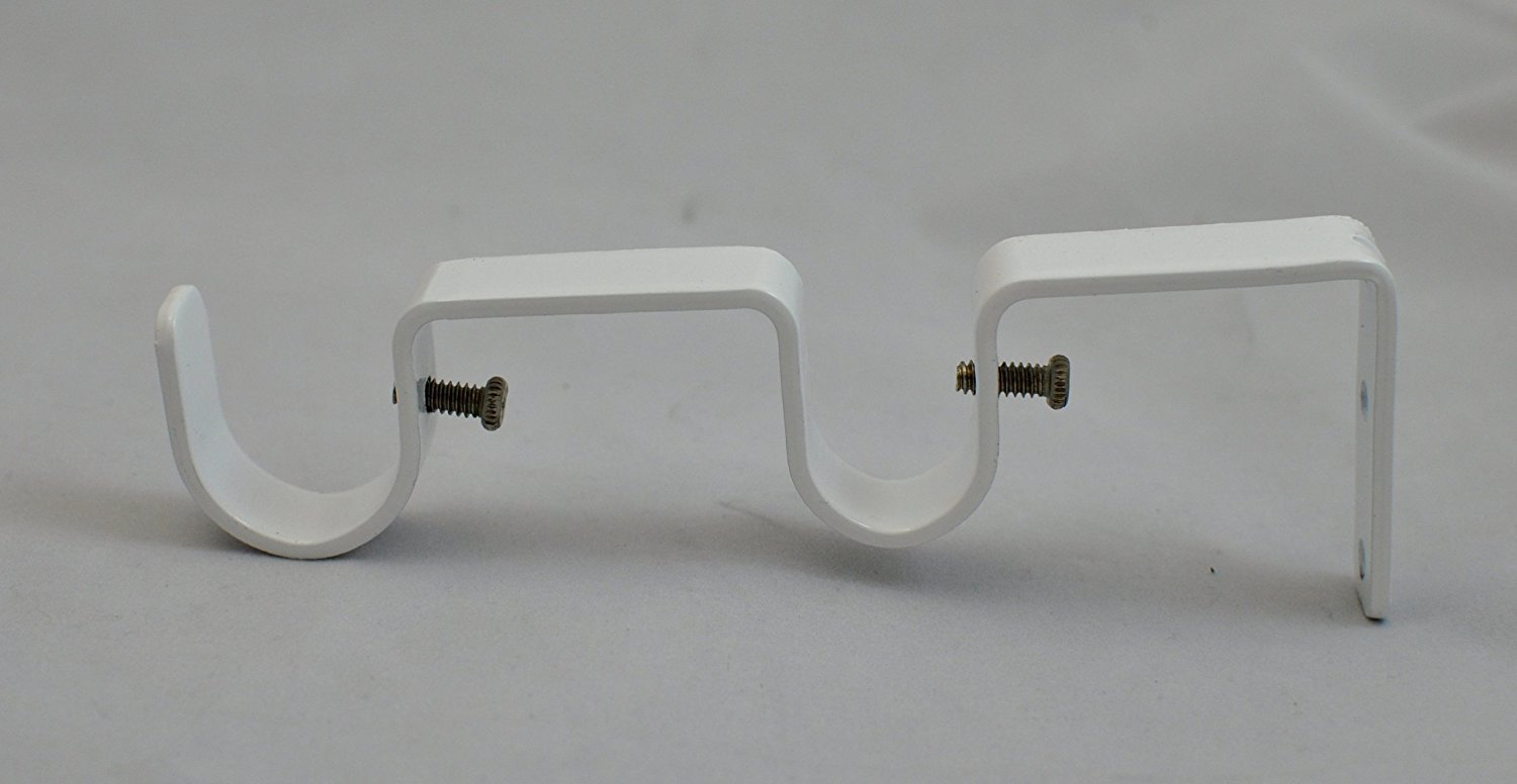"Double Curtain Rod Bracket for 1"" and 3/4"" Rod, Glossy White, 1 pcs."