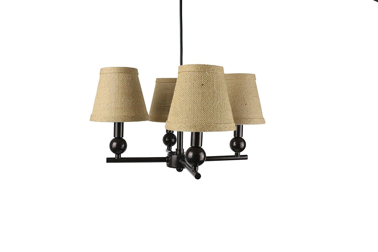 Portable Zio 4-Light Chandelier with Burlap Hardback Shades