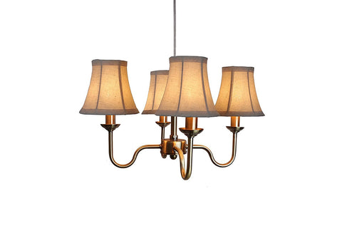 Portable Shire 4-Light Chandelier with Natural Linen Bell Shades