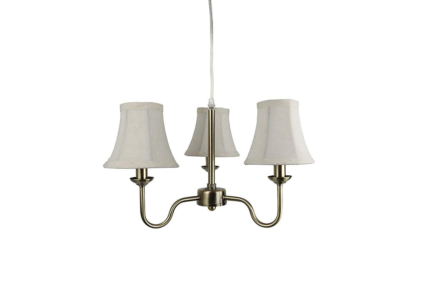 Urbanest Portable Shire 3-Light Chandelier with Natural Linen Bell Shades