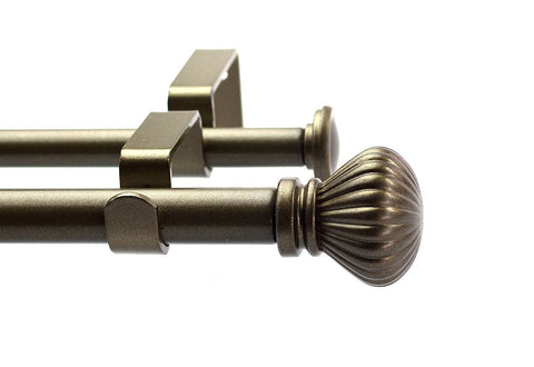 Fluted Ball Adjustable Double Drapery Curtain Rod Set, 5/8""