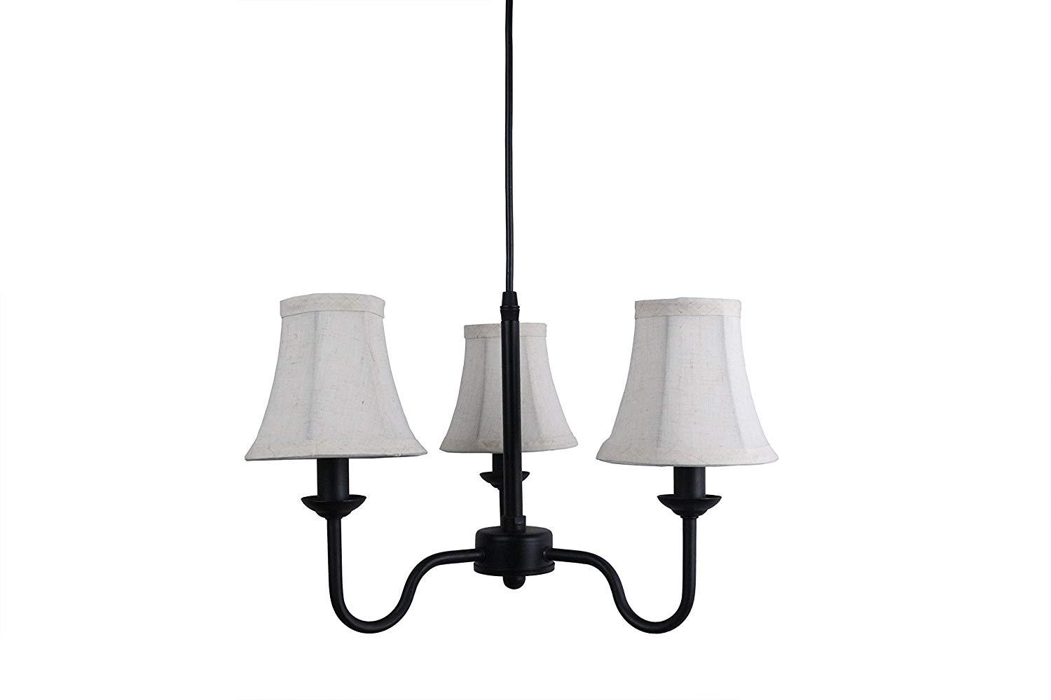 Portable Shire 3-Light Chandelier with Natural Linen Bell Shades