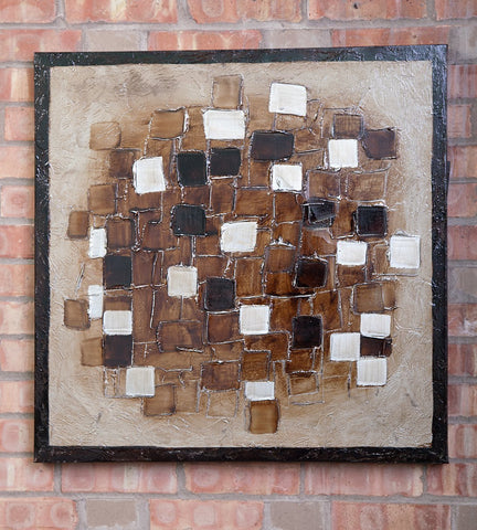 "Framed Stretched Square Mind Oil Painting 27.5""x27.5"""