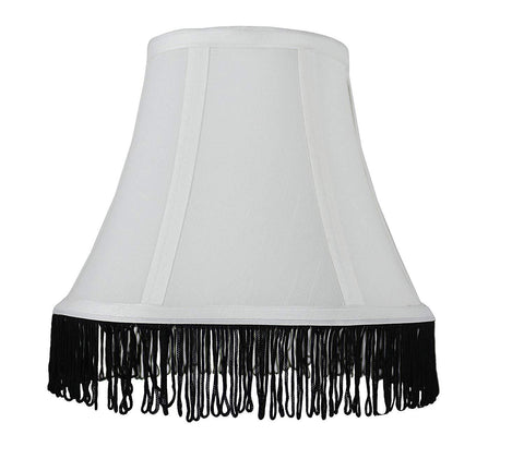 Urbanest Silk Bell Lamp Shade with Fringe, Spider-fitter, 5-inch by 9-inch by 7-inch