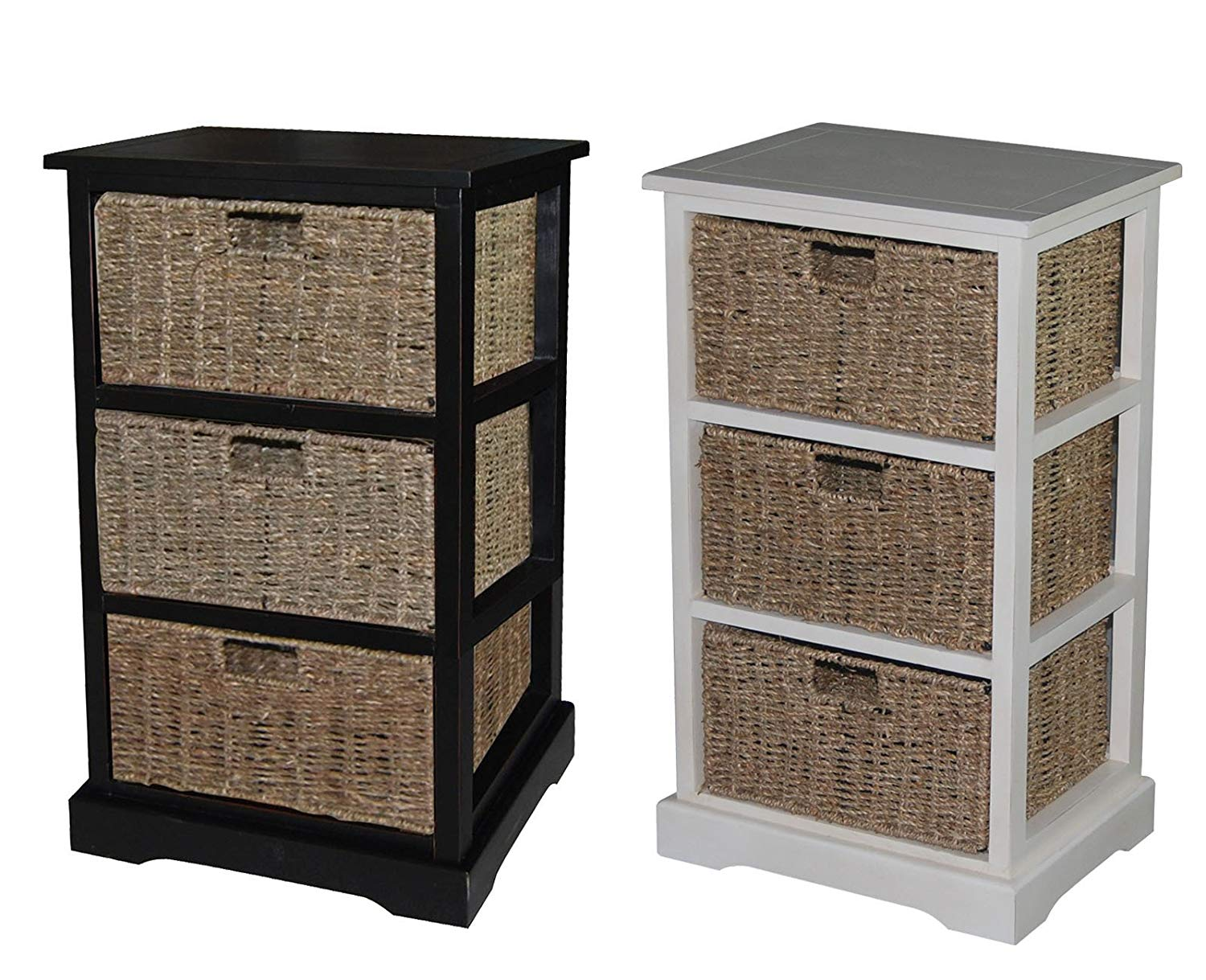 Urbanest 1000479 Accent Storage Cabinet with Three Seagrass Basket Drawers, Antique Black