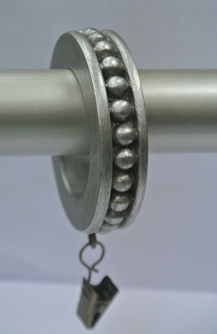 Set of 14 Beaded Edge Designer Curtain Rings in Pewter