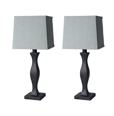 Set of 2 Eva Table Lamps, Paris Bronze