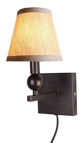 Zio Single Bulb Cord Wall Sconce with Oatmeal Linen Hardback Shades
