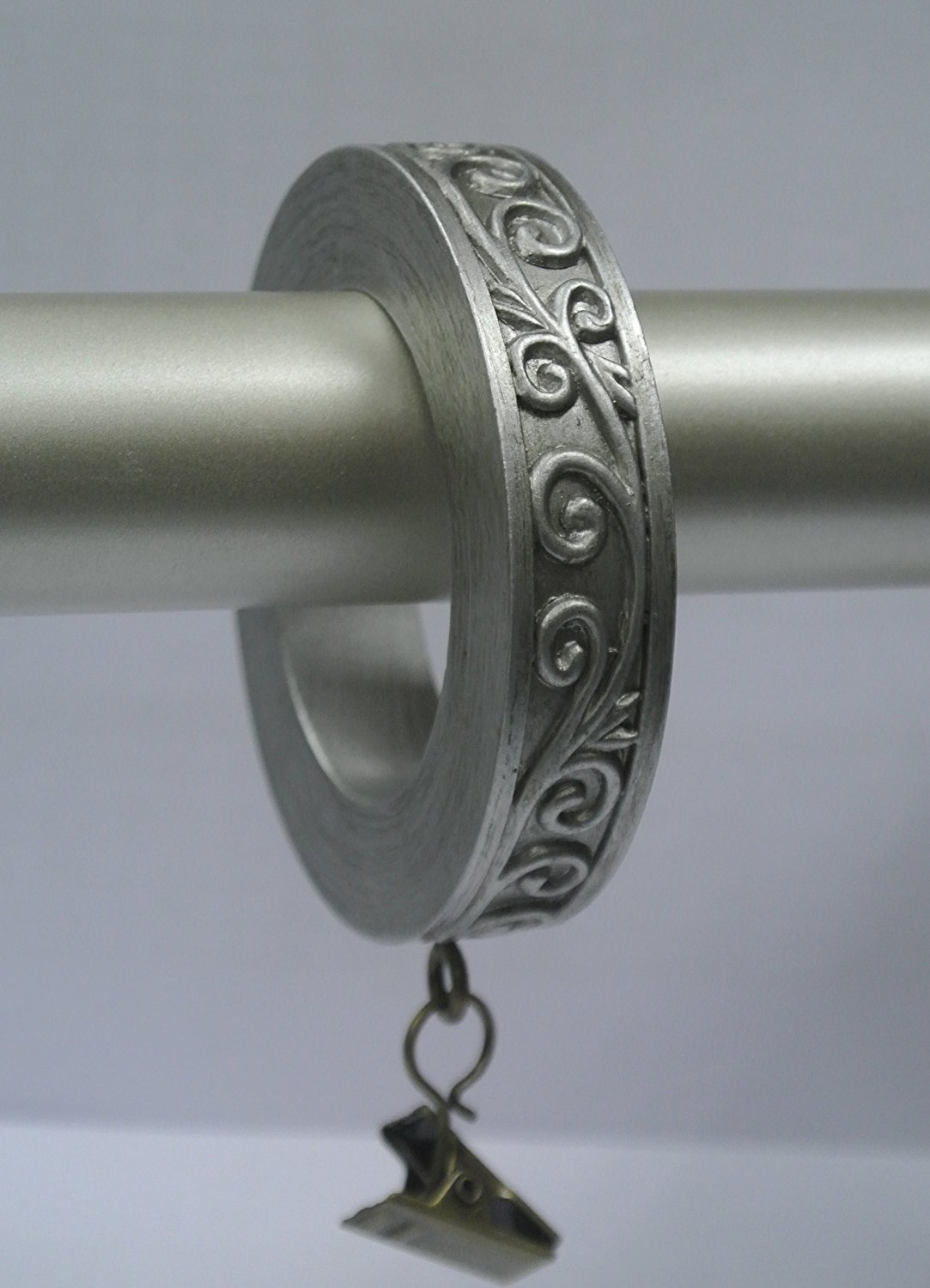 Set of 7 Scroll Designer Curtain Rings in Pewter