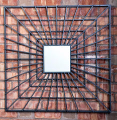 "Architectural Industrial Square Steel Mirror 30"" x 30"""