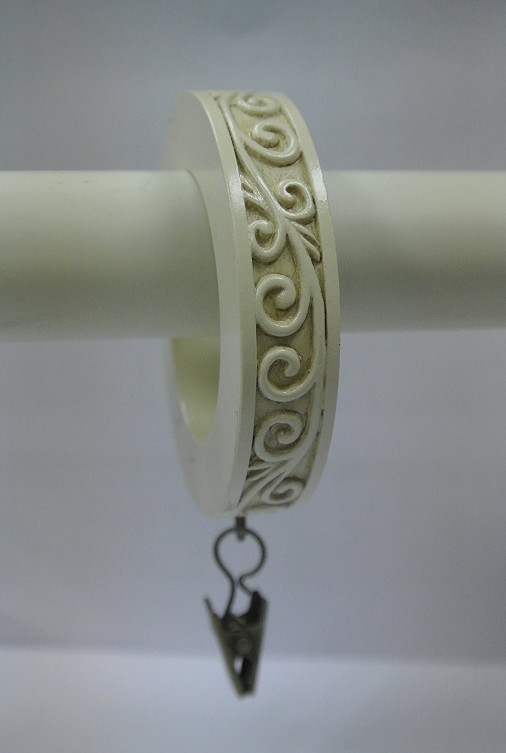 Set of 14 Scroll Designer Curtain Rings in Ivory
