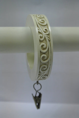 Set of 7 Scroll Designer Curtain Rings in Ivory