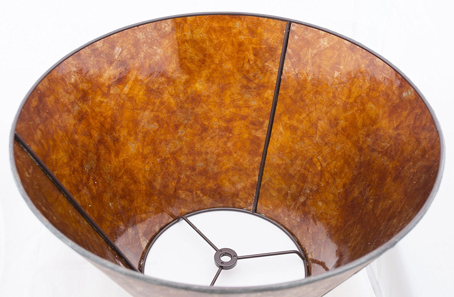 Amber Mica Lampshade, 12-inch Bottom Diameter, 7.5-inch Height, Spider Fitter
