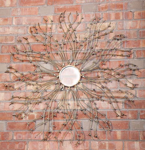 "Organic Metal Wire with Metal Beads Round Mirror 37""D, Antique Silver & Gold Finish"