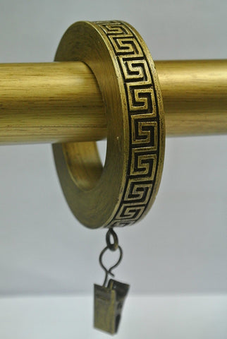 Set of 7 Greek Key Designer Curtain Rings in Renaissance Gold