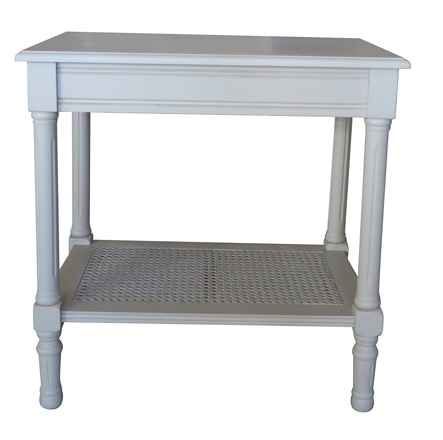 Side table with drawer and shelf - Jamestown Side Table With Rattan Shelf