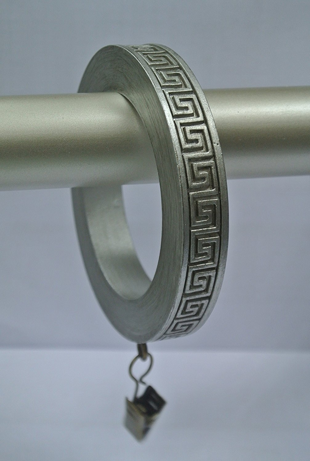 Set of 4 Large Greek Key Designer Curtain Rings