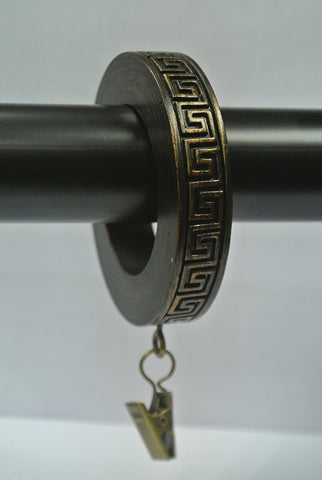 Set of 7 Greek Key Designer Curtain Rings in Burnt Gold