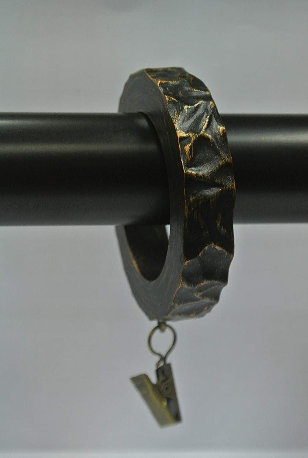 Urbanest Set of 7 Hammered Designer Curtain Rings in Burnt Gold Finish