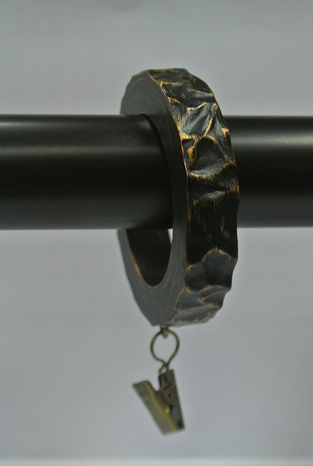 Set of 14 Hammered Designer Curtain Rings in Burnt Gold Finish