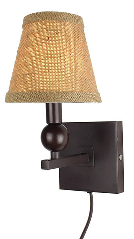 Zio Single Bulb Cord Wall Sconce with Burlap Hardback Shades